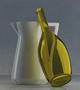Compositie Kan met wijnfles, olieverf/paneel, 62 X 55 cm